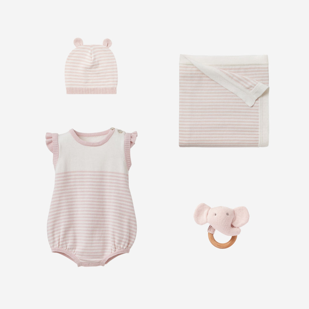 Blush Mini Stripe Bubble Baby Gift Set
