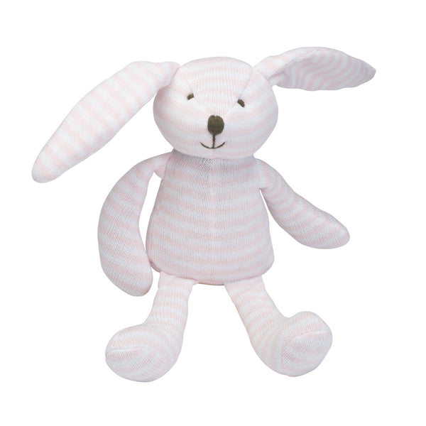 Pink Stripe Bunny Knit Toy