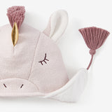 Cream Unicorn Aviator Knit Baby Hat