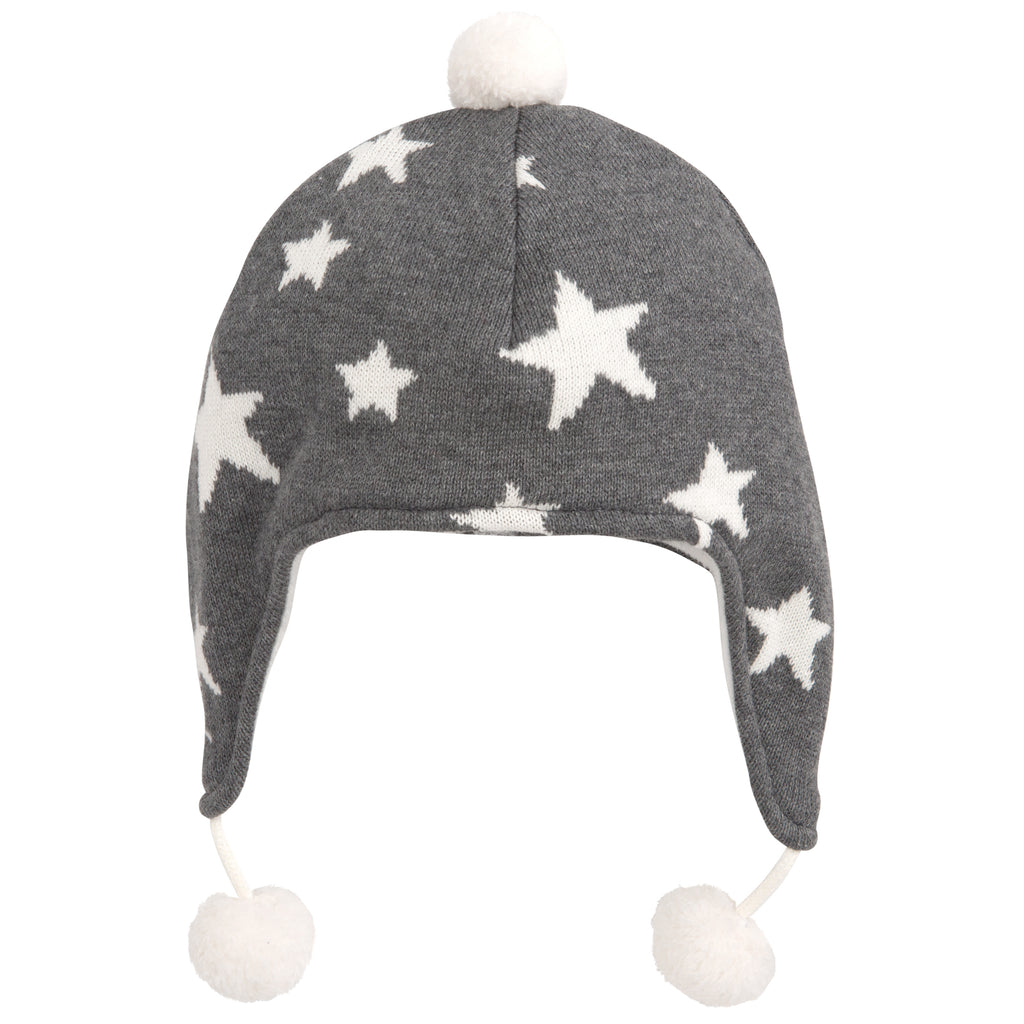 Star Aviator Hat-Charcoal 0-12M