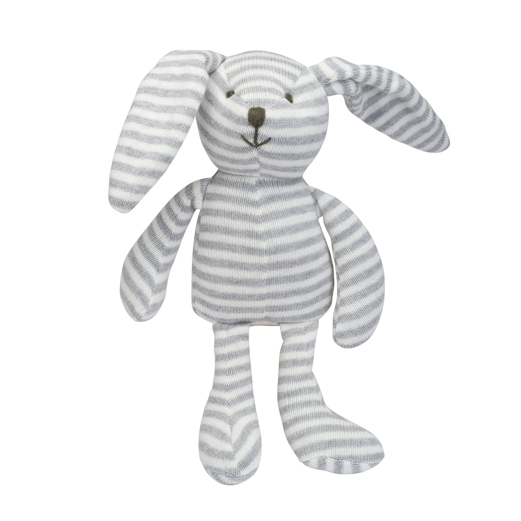 Gray Stripe Bunny Knit Toy