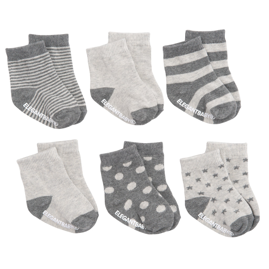 Socks Gray on Gray 6 Pk