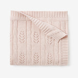 Blush Leaf Knit Baby Blanket