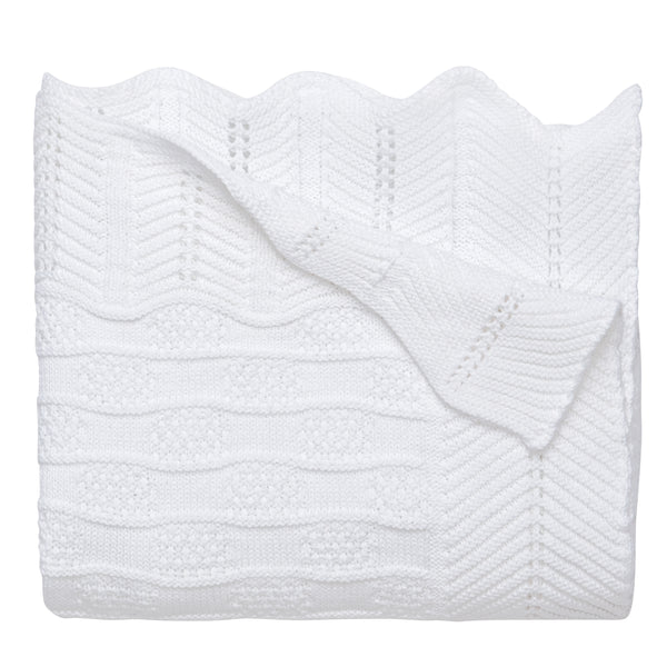 White Fancy Knit Cotton Baby Blanket