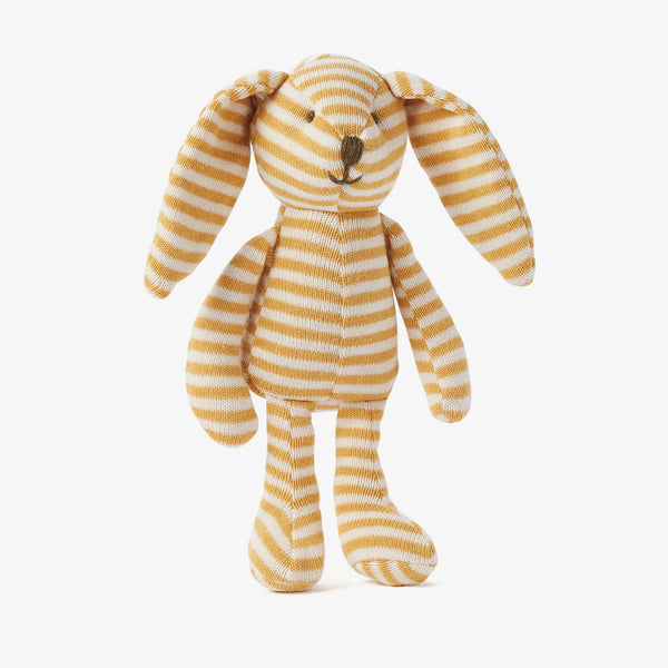 "10"" Mustard Stripe Bunny Knit Stuffed Animal"