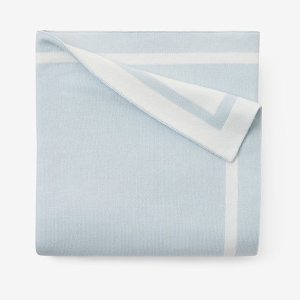 Cloud Blue Tuxedo Stripe Reversible Cotton Knit Baby Blanket