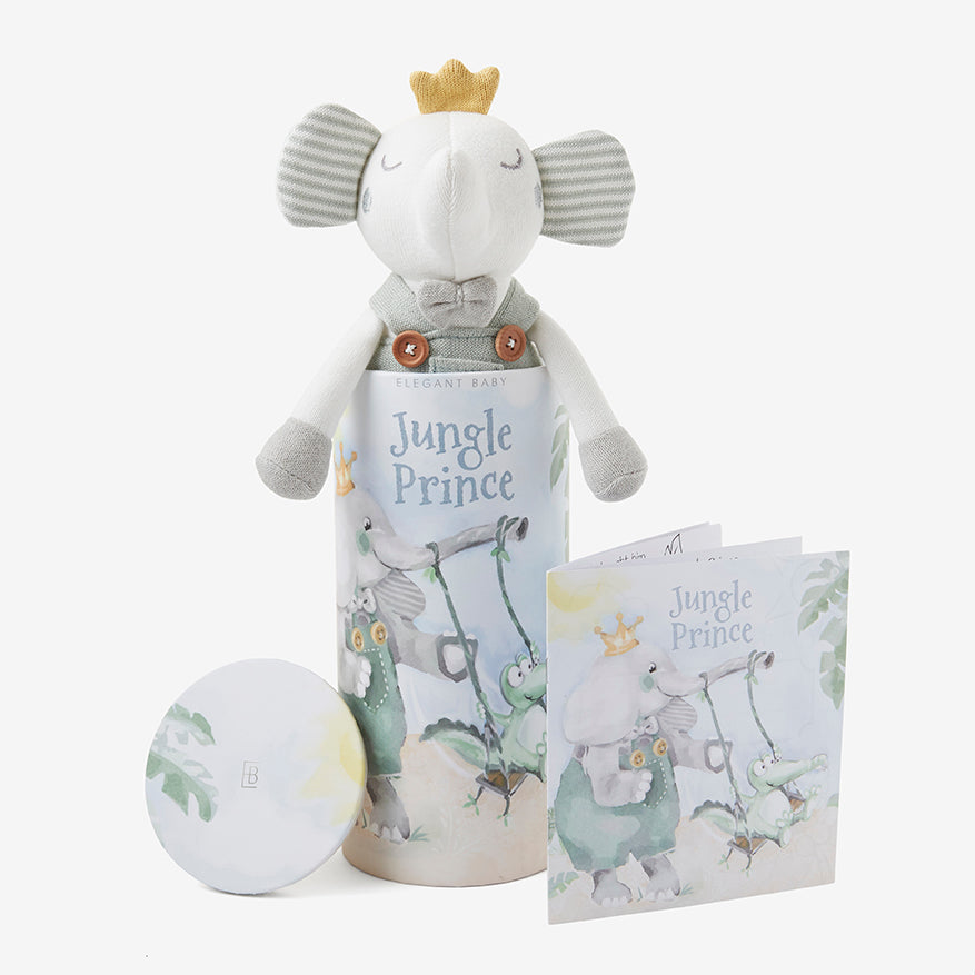"10"" Elephant Prince Baby Knit Toy with Gift Box"
