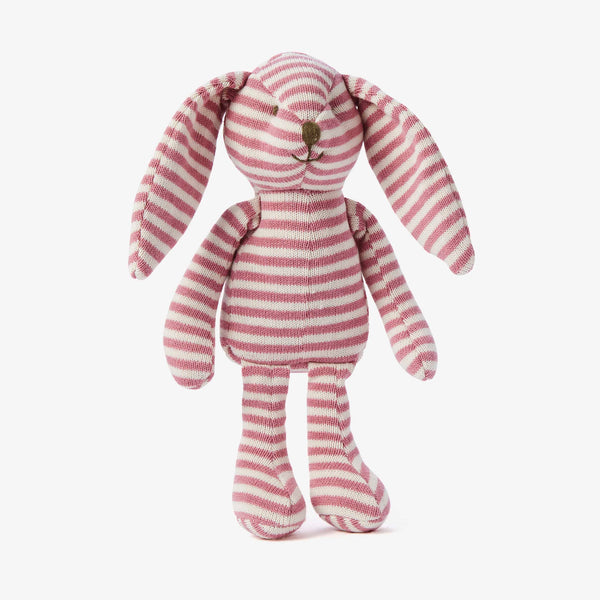 "10"" Mauve Stripe Bunny Knit Stuffed Animal"