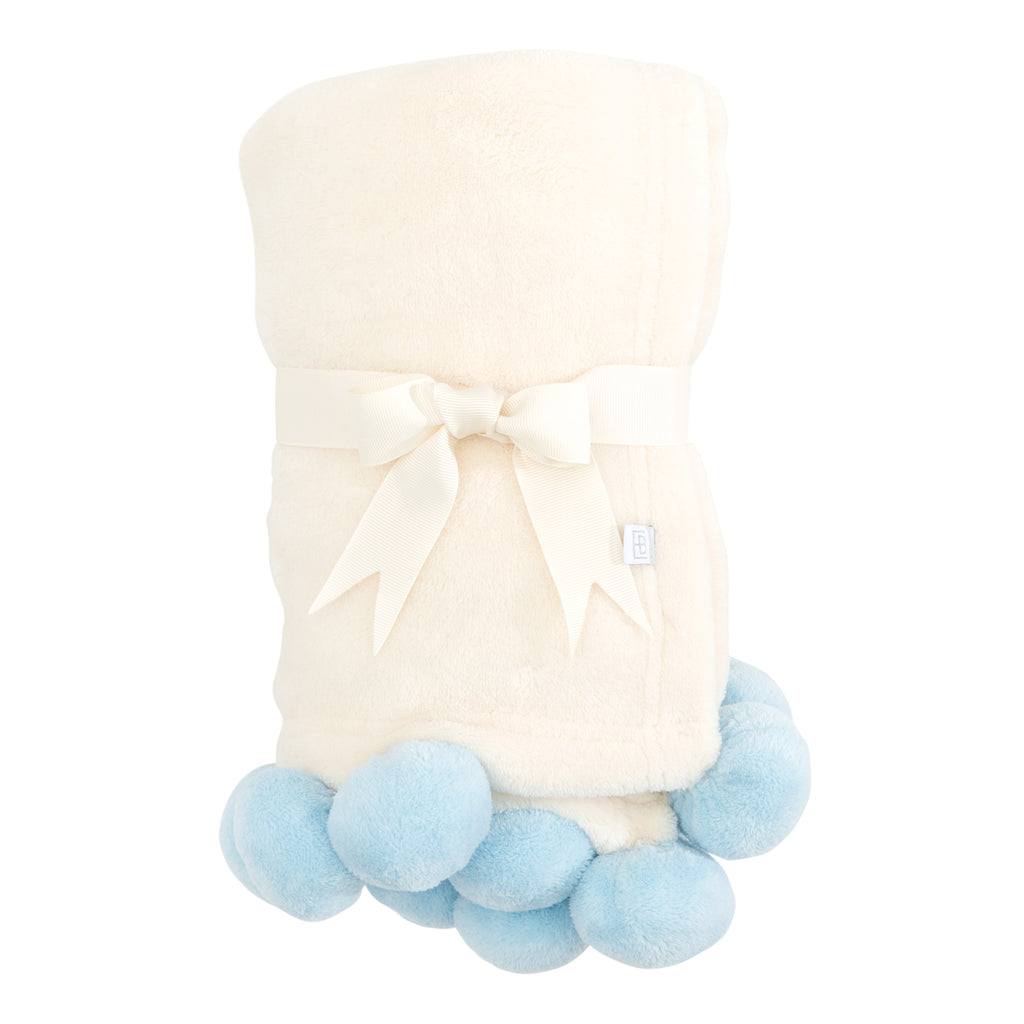 Blue Pom Trim Fleece Baby Blanket