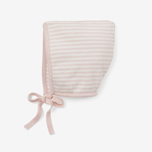 Blush Mini Stripe Cotton Knit Baby Bonnet