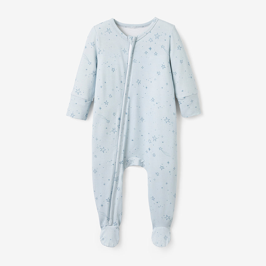 Pale Blue Celestial Print Zip-up Bamboo Footie Pajama Jumpsuit