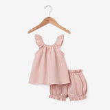 Blush Organic Muslin Flutter Sleeve & Bloomer Set