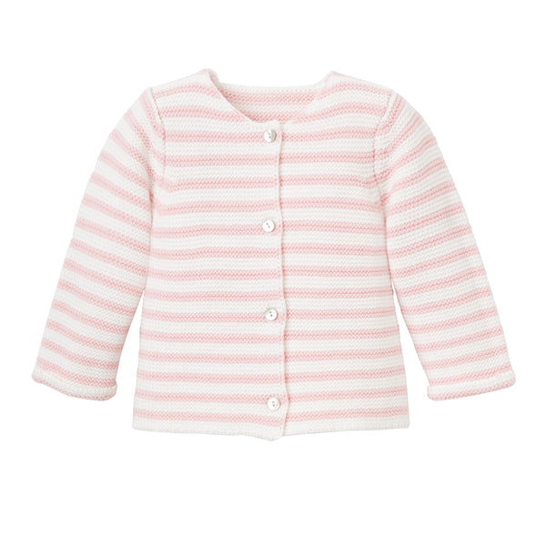 Single Breast Cardigan Pink Stripe