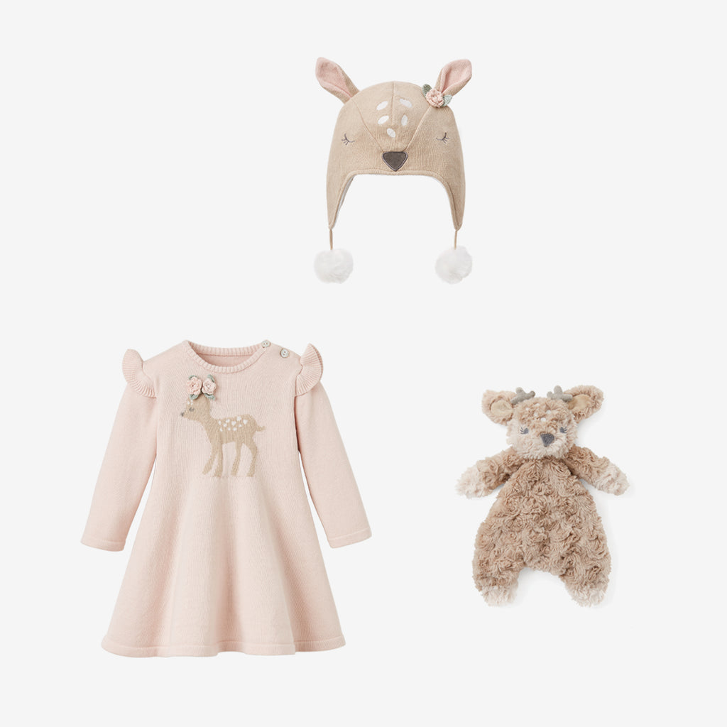 Fawn Knit Dress Baby Gift Set