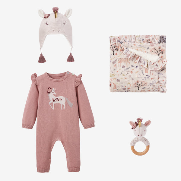 Unicorn Knit Jumpsuit & Hat Baby Gift Set