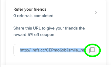 referral link copy button
