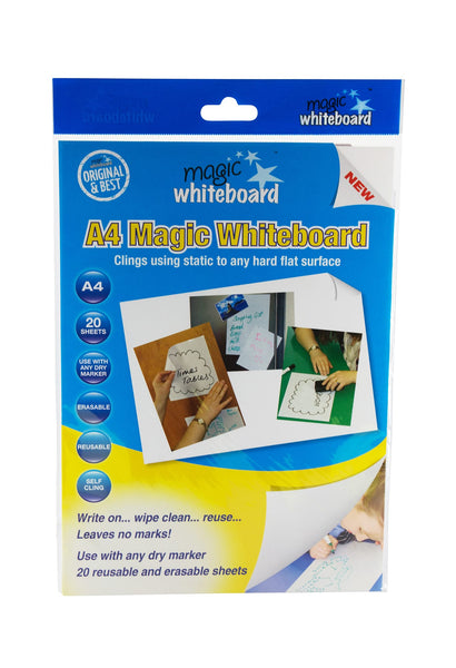 Magic Whiteboard Letter-sized 20 Sheets WHITE (8.25 x 11.75) Portable Dry-Erase Surface | Removable Static Cling | Home, Office or Classroom Use (MW1220)