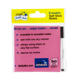 "Magic Whiteboard Sticky Notes Pad PINK 50 Sheets (4""x4"") Portable Dry-Erase Surface 