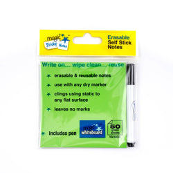 "Magic Whiteboard Sticky Notes Pad GREEN 50 Sheets (4""x4"") Portable Dry-Erase Surface 