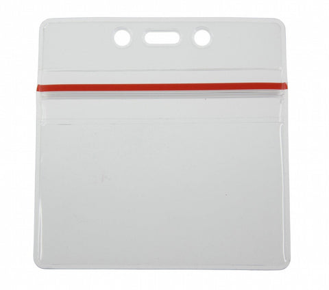 "0.23 EACH! - Pack of 100 - Zip Closure Sealable ID Badge Holder Horizontal 3 3/4"" x 2 5/8"" CLEAR (SRX1815-1010)"