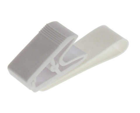 "0.11 EACH! - Pack of 100 - 3.125"" Delrin Plastic Badge Clip WHITE (SRX2115-2008)"