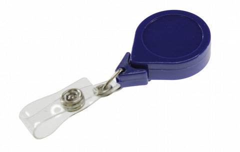 "0.48 EACH! - Pack of 25 - No-Twist round Badge Reel w/Clear Vinyl strap Belt Clip 1.25"" BLUE (SRX2120-3051)"