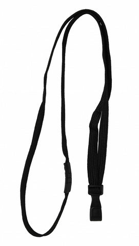 "0.23 EACH! - Pack of 100 - 3/8"" Flat Braid Breakaway Woven Lanyard w/Wide plastic ""No-Twist"" hook BLACK (SRX2137-4744)"