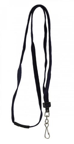 "0.23 EACH! - Pack of 100 - 3/8"" Flat Braid Breakaway Safety Lanyard w/Swivel J-Hook BLACK (SRX2137-5003)"