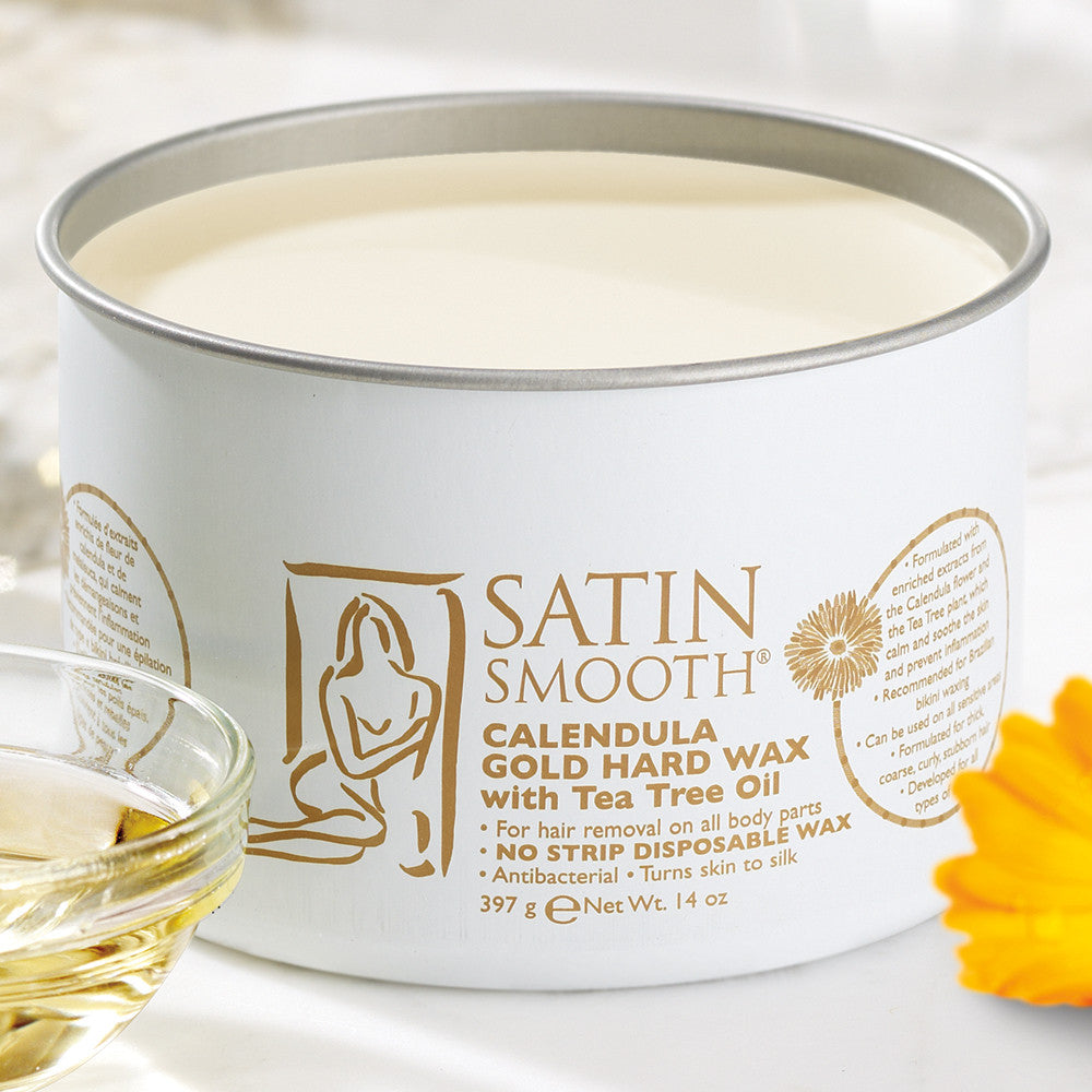 SATIN SMOOTH Calendula Gold Hard Wax with Tea Tree Oil SSW14CTG