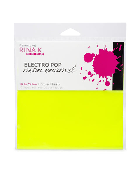 Rina K Designs Neon Enamel Transfer Sheets - HELLO YELLOW (12 sheets per pack) - Craftastic Cabin Inc