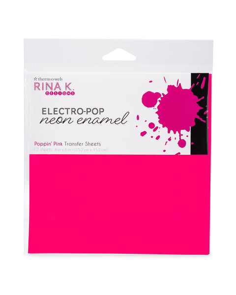 Rina K Designs Neon Enamel Transfer Sheets - POPPIN' PINK (12 sheets per pack) - Craftastic Cabin Inc