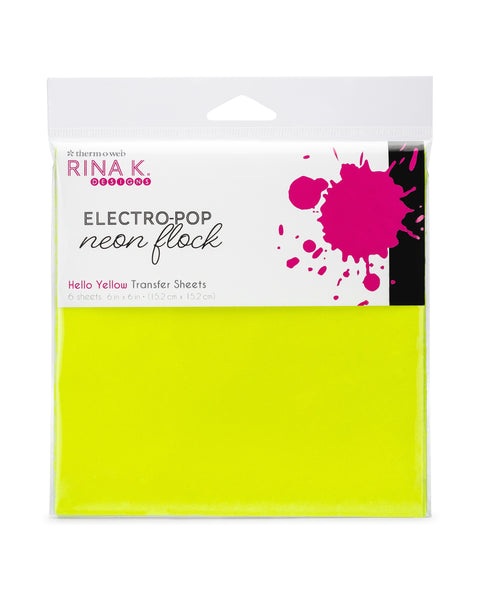 Rina K Designs Neon Flock Sheets - HELLO YELLOW (6 sheets per pack) | Craftastic Cabin Inc