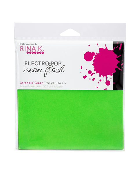 Rina K Designs Neon Flock Sheets - SCREAMIN' GREEN (6 sheets per pack) | Craftastic Cabin Inc