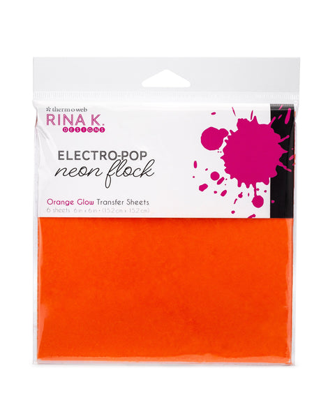 Rina K Designs Neon Flock Sheets - ORANGE GLOW (6 sheets per pack) | Craftastic Cabin Inc