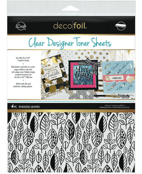 Deco Foil Clear Designer Toner Sheets - ENDLESS LEAVES (4 sheets per pack) | Craftastic Cabin Inc