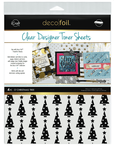 Deco Foil Clear Designer Toner Sheets - O' CHRISTMAS TREE (4 sheets per pack) | Craftastic Cabin Inc