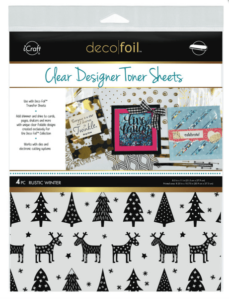 Deco Foil Clear Designer Toner Sheets - RUSTIC WINTER (4 sheets per pack) | Craftastic Cabin Inc