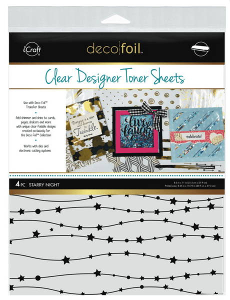 Deco Foil Clear Designer Toner Sheets - STARRY NIGHT (4 sheets per pack) | Craftastic Cabin Inc