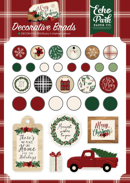 Carta Bella Collection A Cozy Christmas Decorative Brads | Craftastic Cabin Inc