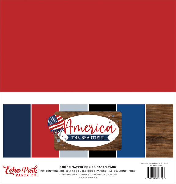 Echo Park America The Beautiful Solids 12x12 kit | Craftastic Cabin Inc