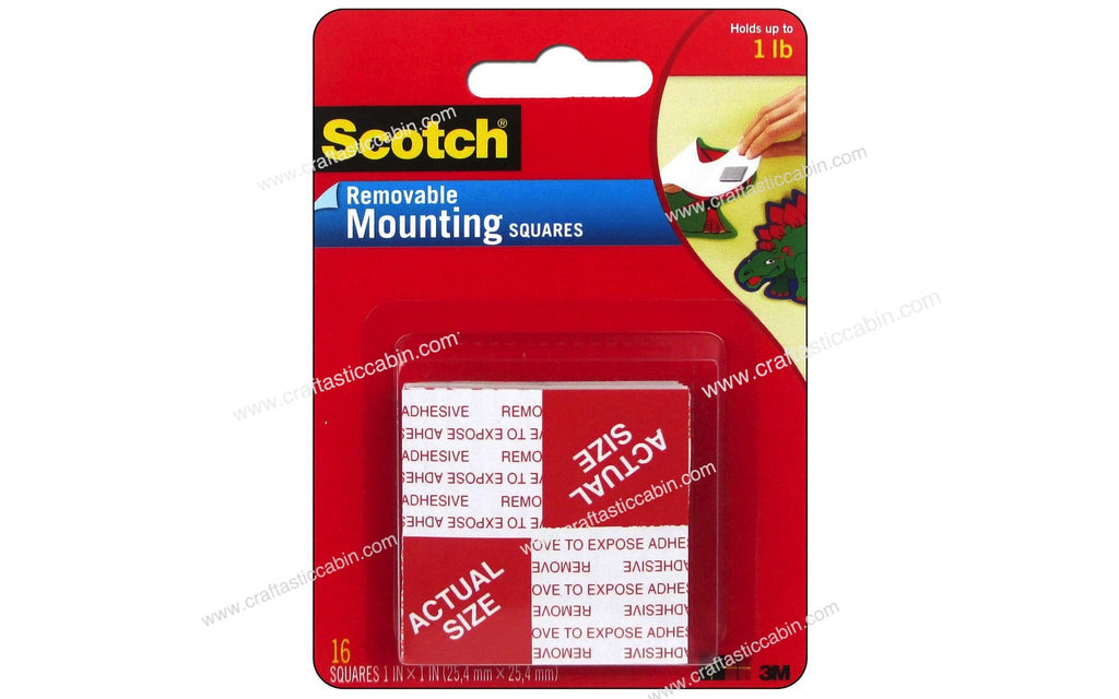"3M Scotch Removable Mounting Squares 1"" 16 pc"