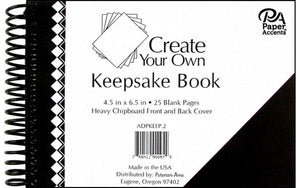 "Paper Accents Create Your Own Keepsake Book 6.5""x 4.5"" 25 page Black Cover 