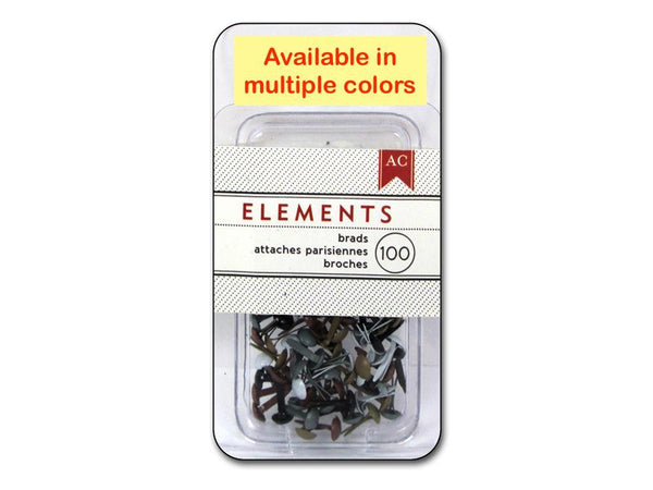 American Crafts Elements Brads, Mini, 100pc sets MULTIPLE COLORS | Craftastic Cabin Inc