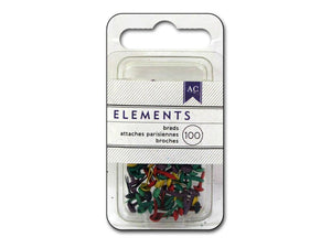 American Crafts Elements Brads, Mini, 100pc sets MULTIPLE COLORS - Craftastic Cabin Inc