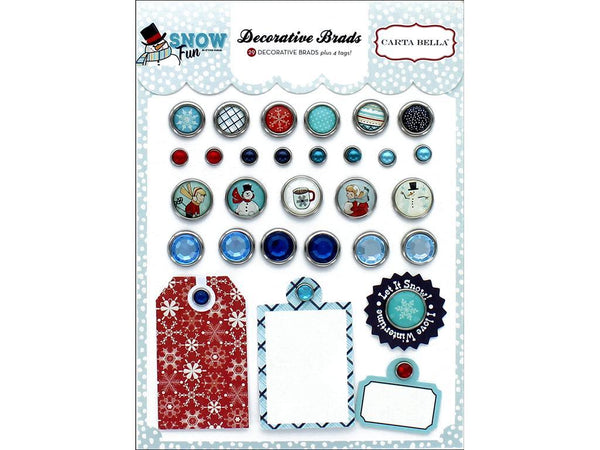 Carta Bella Collection Snow Fun Decorative Brads | Craftastic Cabin Inc