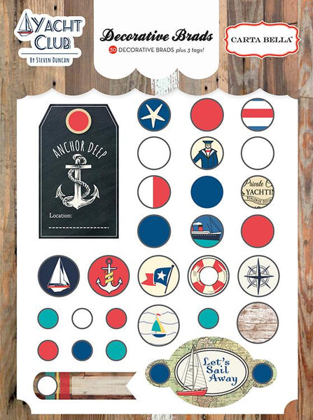 Carta Bella Collection Yacht Club Decorative Brad | Craftastic Cabin Inc