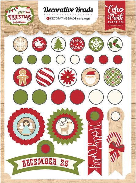 Echo Park Collection I Love Christmas Decorative Brads | Craftastic Cabin Inc
