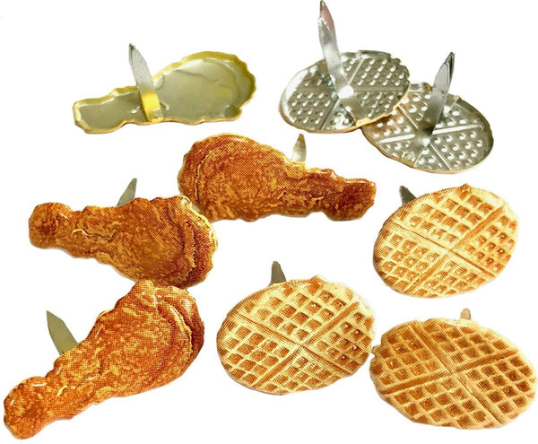 Eyelet Outlet Shape Brads 12/Pkg - Chicken & Waffle | Craftastic Cabin Inc