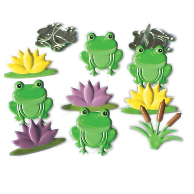 Eyelet Outlet Shape Brads 12/Pkg Frog Mix