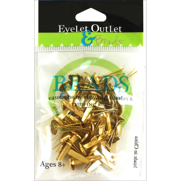 Eyelet Outlet Round Brads 8mm 40/Pkg - Gold | Craftastic Cabin Inc